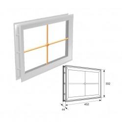 """Окно акриловое 452х302 белое с раскладкой крест для панелей со структурой """"филенка""""(DH85627)"""