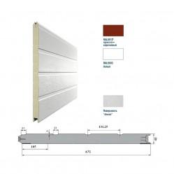 Панель 475мм Ндерево Доска/Нстукко Красно-коричневый(RAL8017)/Белый(RAL9003)